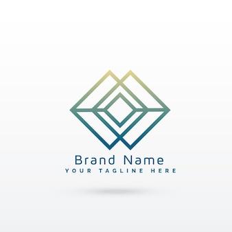 Design de conceito de logotipo de linha de diamante abstrato