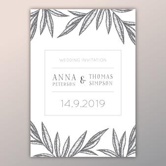 Design de convite de casamento cinza e branco