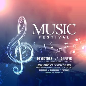 Design de convite do festival de música com notas