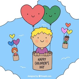 Design de dia de criança com crianças em balões