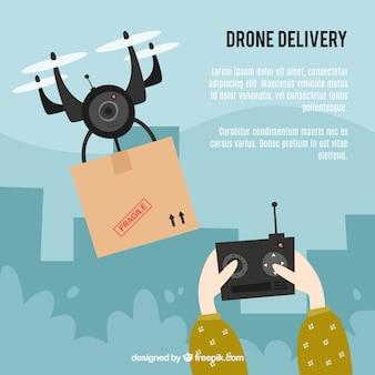 Design de drone com mãos segurando o controle remoto
