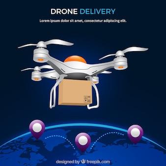 Design de drone de entrega com globo