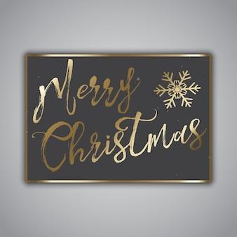 Design de estilo Grunge Cartão de Natal com letras de ouro