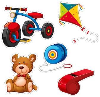 Design de etiqueta com triciclo e outros brinquedos