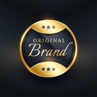 Design de etiqueta dourada de marca original de vetor