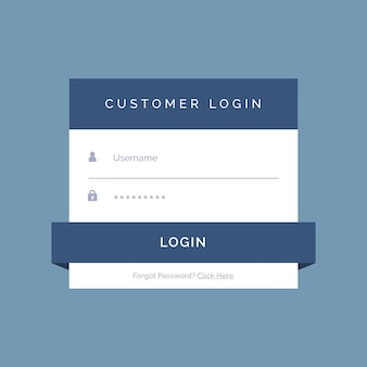 Design de formulário de login plana no fundo azul