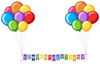 Design de fundo com balões e felicitações de palavras