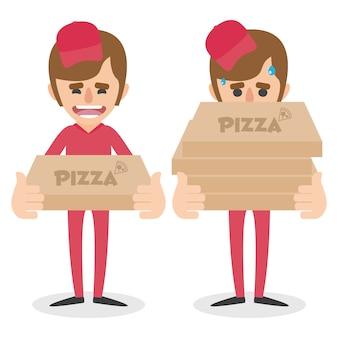 Design de homens de entrega de pizza