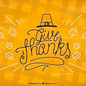 Design de letras amarelas de ação de graças