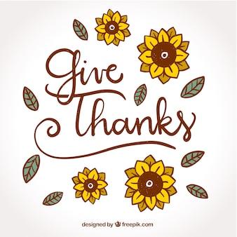 Design de letras de Ação de Graças com girassóis