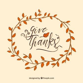 Design de letras de Ação de Graças com ramo circular
