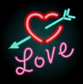 Design de luz de néon para o amor da palavra