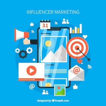 Design de marketing brilhante e influenciador