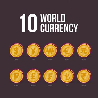 Design de moeda do mundo