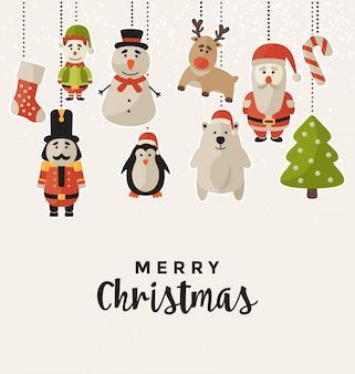 Design de Natal com personagens em suspenso - Cartão para a temporada de férias de inverno
