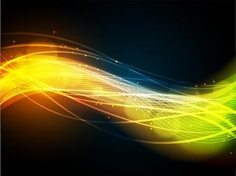 Design de ondas abstratas incandescentes coloridas.