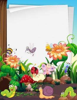 Design de papel com insetos no jardim