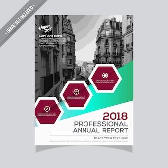Design de relatório anual verde e borgonha