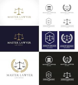 Design de vetores de ícones da firma de advocacia. Conjunto de design de logotipo do advogado