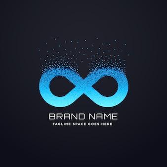 Design digital do logotipo do infinito com partículas floridas