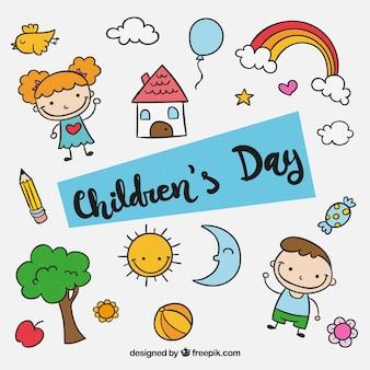 Design do dia das crianças com elementos infantis