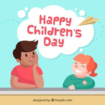 Design do dia das crianças com garoto olhando menina