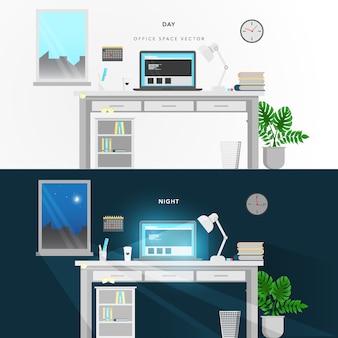 Design do escritório de noite e dia