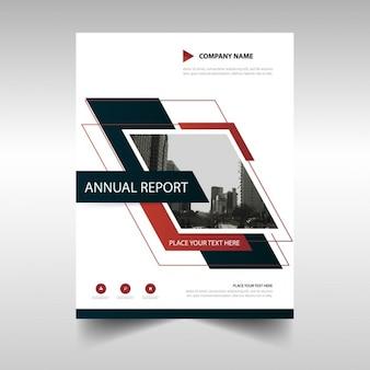 Design do modelo do relatório anual preto vermelho