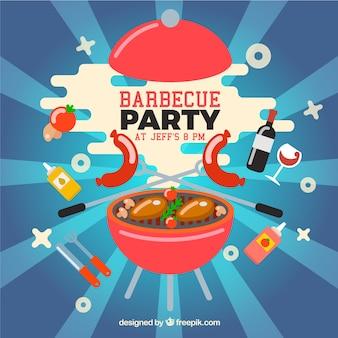 Design engraçado de festa de churrasco