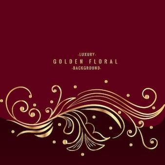 Design floral dourado bonito no fundo vermelho