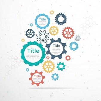 Design infográfico moderno com engrenagens