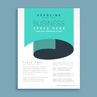 Design minimalista Folheto A4 com azul onda de papel