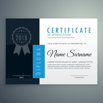 Design moderno certificado de diploma