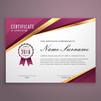 Design moderno modelo de certificado com as listras douradas