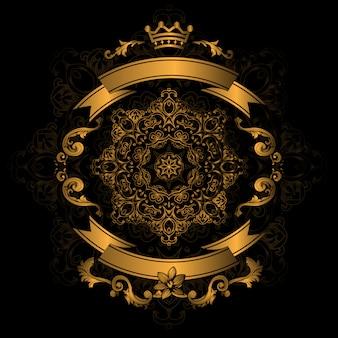 Design ornamental dourado no fundo preto