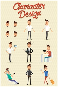 Design Os homens de caracteres em muitas poses