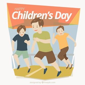 Design para o dia das crianças com crianças correndo