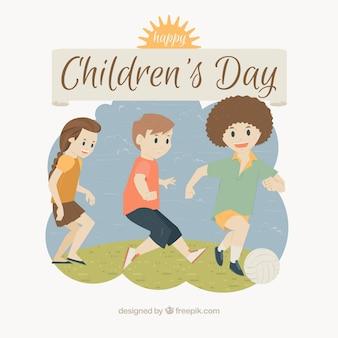 Design para o dia das crianças com crianças jogando futebol