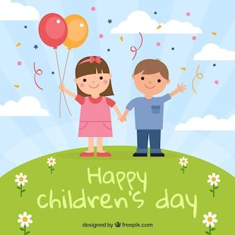 Design para o dia das crianças com crianças no monte