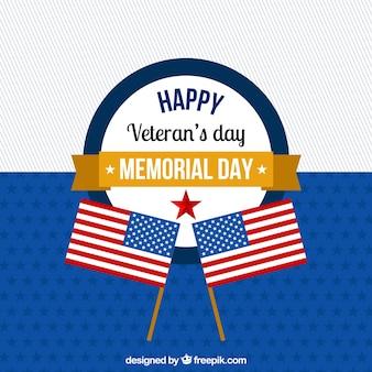 Design plano do dia dos veteranos com bandeiras