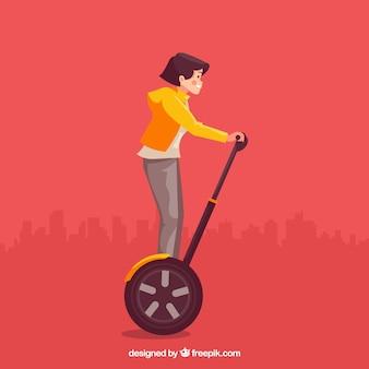 Design scooter elétrico com menina de cabelos curtos