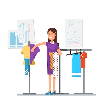 Designer de roupas de moda trabalhando no projeto do vestido