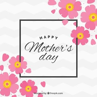 Dia das mães feliz com fundo floral no design plano