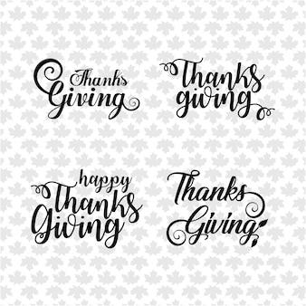 Dia de Ação de Graças feliz texto de letras à mão. Coleção de caligrafia de vetores feitos à mão