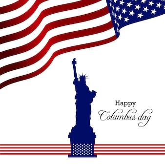 Dia de Colombo. EUA bandeira fundo com navio. Ilustração do vetor.