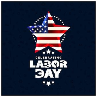 Dia do trabalhador dos EUA com estrela incandescente da bandeira dos EUA