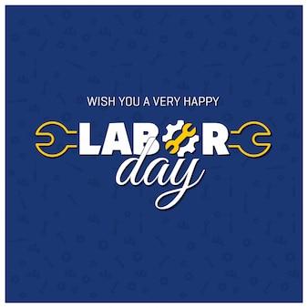Dia do Trabalho feliz tipografia criativa em um fundo de padrão azul