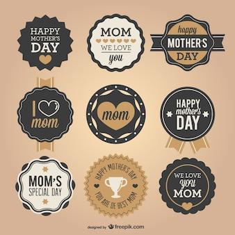 Dia emblemas retro mãe definir