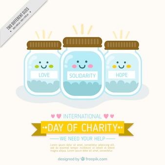 Dia internacional de fundo de caridade com os frascos de dinheiro encantadoras