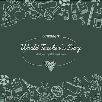 Dia mundial do professor em um quadro de quadro verde